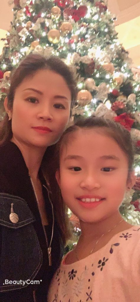 Chloe with her mother, Mrs. Li.